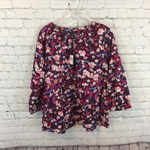 Tommy Hilfiger Floral Pattern Peasant Style Blouse